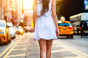 Girl walking on New York City street
