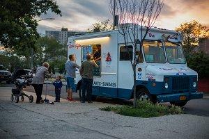 Vintage ice cream van car