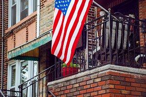 United States flag on porch