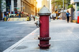 Old red fire hydrant in New York