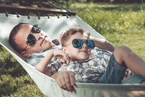 Father and son relaxing