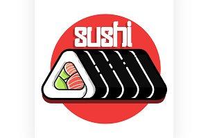 Color vintage sushi emblem