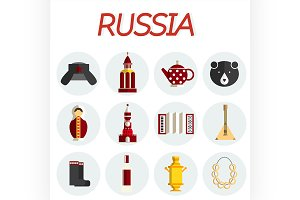 Russia flat icon set
