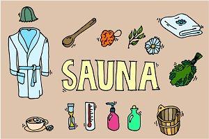 Set of sauna icons.