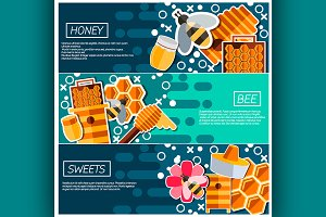 Horizontal Banners about honey