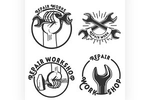Vintage repair workshop emblems