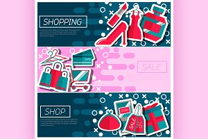 Horizontal Banners about shopping