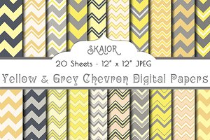 Yellow Grey Chevron Digital Papers
