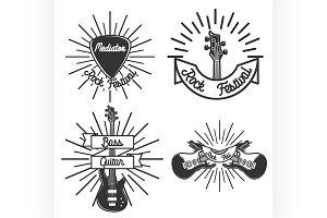 Set of vintage rock emblems
