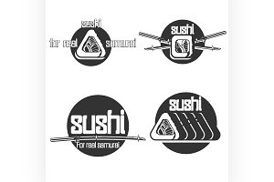 Set of vintage sushi emblems
