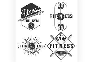 vintage fitness, gym emblems