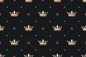Seamless pattern with king crown