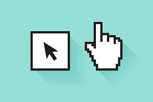 Pixel hand & cursor arrow