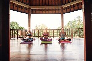 Group of women meditating