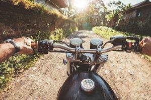 Rider driving motorcycle