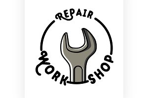 Color vintage repair workshop emblem