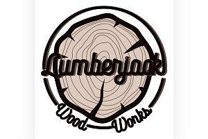Color vintage lumberjack emblem