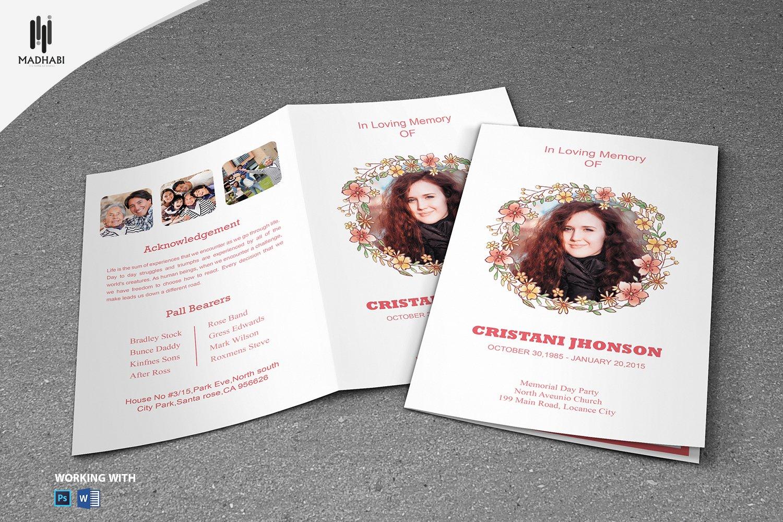 printable funeral program template brochure templates creative market. Black Bedroom Furniture Sets. Home Design Ideas