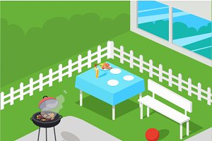 BBQ Party Isometric