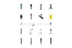 Microphone Set Design Flat Isolated