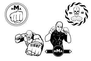 mma.  fighting without rules. vector