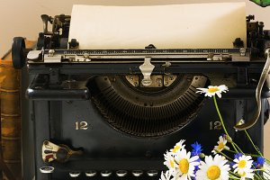 typewriter on table