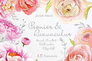 Peonies & Ranunculus. Watercolor Set