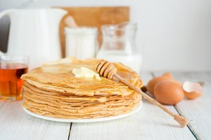 Crepes or pancakes with butter