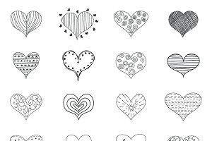 Hearts Retro Doodles