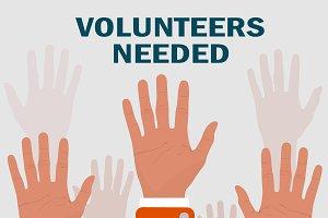 volunteers needed concepts, vector