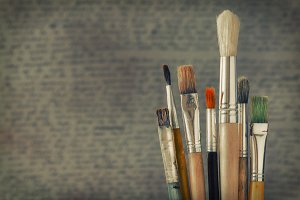Brushes in the artist's studio