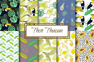 Toucan in Jungle Seamless Patterns