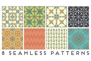 8 seamless patterns in ethnic style