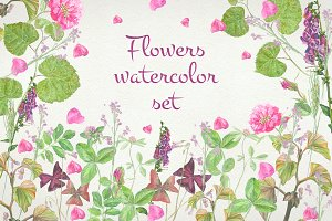 Flowers watercolor set