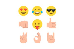 Flat design emoticon emoji set