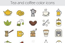 Tea and coffee. 25 icons. Vector