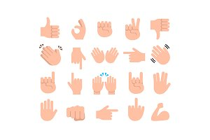 Hands emoticon emoji icon set