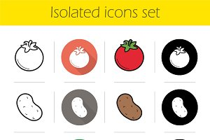 Vegetables. 12 icons. Vector