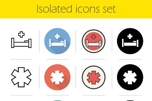 Ambulance. 12 icons. Vector
