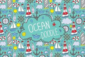 Doodle ocean seamless patterns