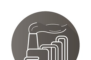 Factory with smoke icon. Vector