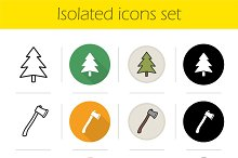 Camping. 12 icons set. Vector