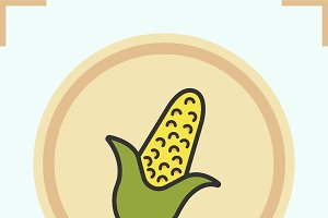 Corn color icon. Vector