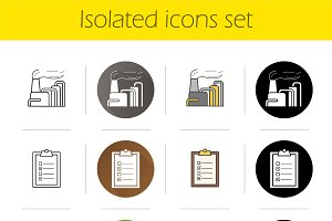 Environment pollution icons. Vector