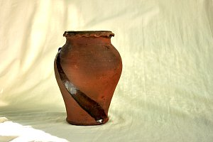 ancien terracotta jar backlit
