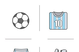 Soccer. 4 color icons. Vector