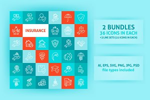 Insurance Line Art Icons