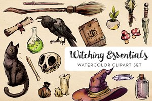witching essentials watercolor set illustrations creative market
