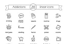 Addictions. 20 icons. Vector