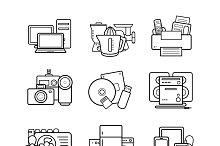 Household appliances 9 icons. Vector